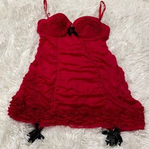 Victoria's Secret Ruched Red Chemise 36C
